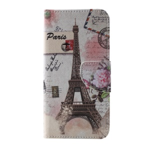 Cross Texture Patterned Protective Leather Case for Samsung Galaxy S10 - Eiffel Tower