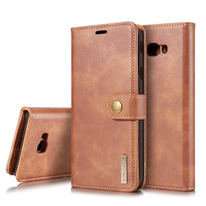 DG.MING for Samsung Galaxy J4+  Detachable 2-in-1 PC Back Cover + Split Leather Mobile Shell - Brown