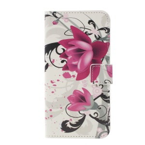 Pattern Printing Protective Leather Case for Samsung Galaxy S10 - Purple Flower