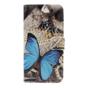 Pattern Printing Leather Flip Case Accessory for Samsung Galaxy S10 - Blue Butterfly