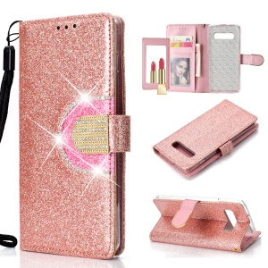 For Samsung Galaxy S10 Plus Lite Glitter Powder Leather Shell [Rhinestone Decor] [with Mirror] - Rose Gold