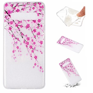 For Samsung Galaxy S10 Plus Embossed Pattern Soft TPU Back Case - Peach Flower