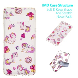 Pattern Printing IMD TPU Case for Samsung Galaxy S10 Plus - Unicorn
