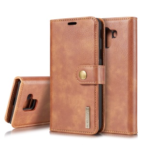 DG.MING for Samsung Galaxy J6 (2018) Detachable 2-in-1 Split Leather Wallet Protection Shell - Brown