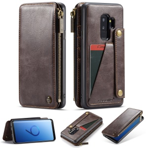 CASEME Detachable 2-in-1 Business Zipper Leather Wallet Phone Case for Samsung Galaxy S9+ SM-G965 - Coffee