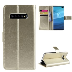 Crazy Horse Wallet Leather Phone Case with Strap for Samsung Galaxy S10 Plus - Gold