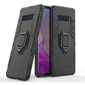Finger Ring Kickstand PC + TPU Hybrid Case for Samsung Galaxy S10 Plus - Black