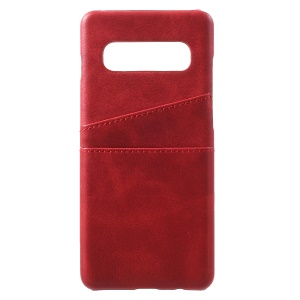 For Samsung Galaxy S10 PU Leather Coated PC Hard Casing with 2 Card Slots - Red