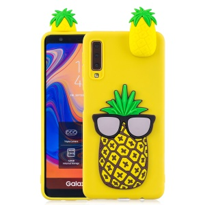 For Samsung Galaxy A7 (2018) TPU Gel Mobile Cover / 3D Cute Doll / Pattern Printing - Cool Pineapple