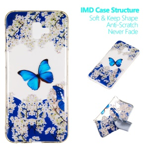Patterned IMD TPU Gel Cover for Samsung Galaxy J6 Plus J610F / J6 Prime - White Flower and Blue Butterfly