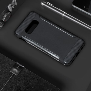 Matte TPU Carbon Fiber Texture Phone Case for Samsung Galaxy S10 Lite - Black