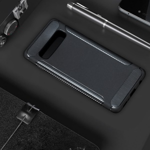 For Samsung Galaxy S10 Carbon Fiber Texture Matte TPU Cell Phone Case - Black