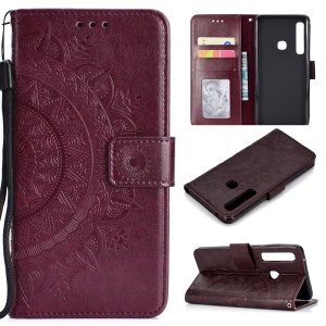 Imprinted Mandala Pattern Wallet Leather Flip Shell for Samsung Galaxy A9 (2018) / A9 Star Pro / A9s - Brown