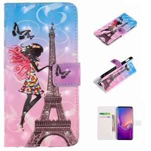 For Samsung Galaxy S10 Lite Embossed Pattern [Light Spot Decor] Leather Wallet Case - Eiffel Tower