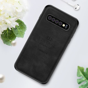 PINWUYO Leather + PC + TPU Hybrid Phone Cover for Samsung Galaxy S10 Plus - Black