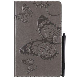Imprint Butterfly Leather Flip Stand Case for Samsung Galaxy Tab A 10.5 (2018) T590 T595 T597 - Grey