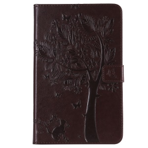 For Samsung Galaxy Tab A 8.0 (2018) SM-T387 [Imprint Cat and Tree] Leather Wallet Tablet Shell Case - Brown