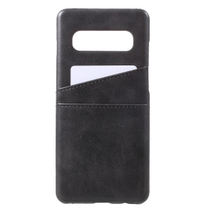 Double Card Slots PU Leather Coated PC Hard Case for Samsung Galaxy S10 Plus - Black