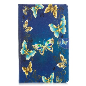 Pattern Printing Leather Tablet Case [Wallet Stand] for Samsung Galaxy Tab A 10.5 (2018) T590 T595 - Gold and Blue Butterflies