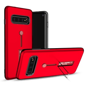 TPU + PC Hybrid Finger Grip Kickstand Case for Samsung Galaxy S10 - Red