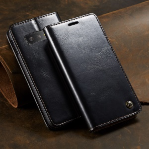 CASEME Retro PU Leather Magnetic Adsorption Wallet Shell for Samsung Galaxy S10 Lite - Black