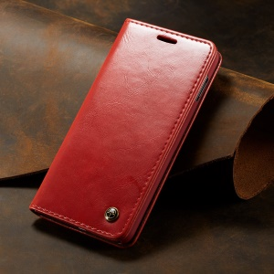 CASEME 003 Series Retro PU Leather Magnetic Adsorption Wallet Cover for Samsung Galaxy S10e - Red