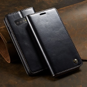 CASEME Retro PU Leather Magnetic Adsorption Wallet Shell for Samsung Galaxy S10 Plus - Black