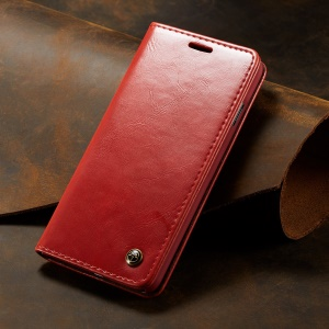 CASEME 003 Series Retro PU Leather Magnetic Adsorption Wallet Case for Samsung Galaxy S10 Plus - Red