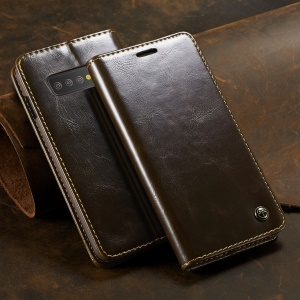 CASEME Retro PU Leather Magnetic Adsorption Wallet Casing for Samsung Galaxy S10 Plus - Brown