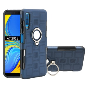 Geometric Pattern TPU PC Hybrid Case with Magnetic Car Mount Ring Holder for Samsung Galaxy A7 (2018) - Dark Blue