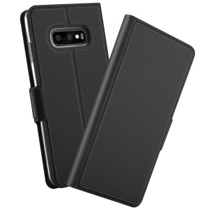 Magnetic Adsorption Leather Flip Stand Case with Card Holder for Samsung Galaxy S10 Plus - Black