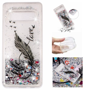 Dynamic Glitter Powder Sequins Patterned TPU Phone Case for Samsung Galaxy S10 Plus - Quill Pen