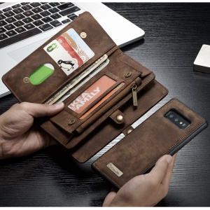CASEME 008 Series Detachable 2-in-1 Multiple Card Slots Wallet Split Leather Cover for Samsung Galaxy S10e - Brown
