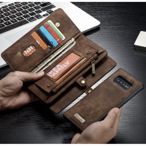 CASEME Detachable 2-in-1 Wallet Split Leather Phone Cover Case for Samsung Galaxy S10 Plus - Brown