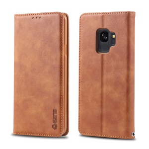 AZNS Retro Style PU Leather Mobile Case for Samsung Galaxy S9 G960 - Brown