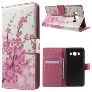 Patterned Leather Wallet Stand Case for Samsung Galaxy J5 (2016) - Plum Blossom