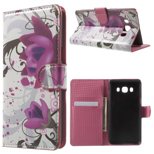 Patterned Leather Card Holder Cover for Samsung Galaxy J5 (2016) with Stand - Purple Flower