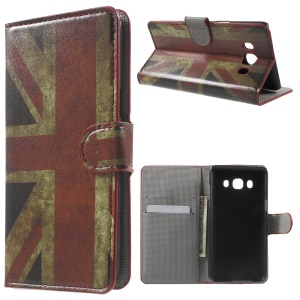 Patterned Leather Wallet Phone Case for Samsung Galaxy J5 (2016) - Retro UK Flag