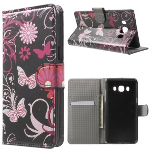 Patterned Leather Wallet Stand Shell para Samsung Galaxy J5 (2016) - Borboleta e Flor