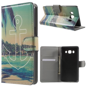 Patterned Leather Wallet Stand Case for Samsung Galaxy J5 (2016) - Anchor and Sea