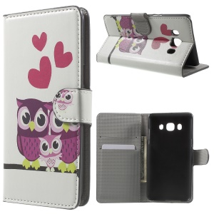 Leather Card Slot Phone Case for Samsung Galaxy J5 (2016) - Owl Family