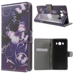 Patterned Leather Wallet Stand Case for Samsung Galaxy J5 (2016) - Purple Butterfly