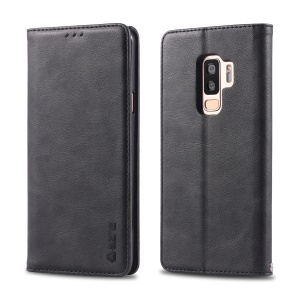 AZNS Retro Style PU Leather Mobile Phone Cover for Samsung Galaxy S9+ G965 - Black
