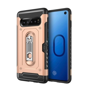 Armor Rugged PC + TPU Hybrid Cover with Kickstand for Samsung Galaxy S10 Plus - Gold