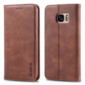AZNS Retro Style PU Leather Protective Mobile Shell for Samsung Galaxy S7 SM-G930 - Coffee