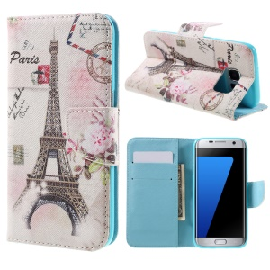 Magnetic Leather Stand Cover for Samsung Galaxy S7 edge G935 - Paris Eiffel Tower
