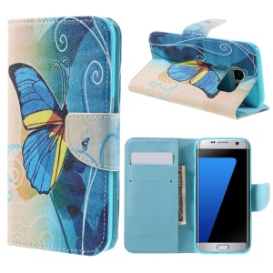 Wallet Leather Case Cover for Samsung Galaxy S7 edge G935 - Blue Butterflies