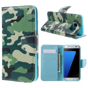 PU Leather Card Holder Case for Samsung Galaxy S7 edge G935 - Camouflage Pattern