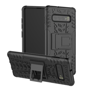 2-in-1 Tyre Pattern PC + TPU Hybrid Mobile Phone Case with Kickstand for Samsung Galaxy S10 - All Black