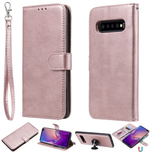 Magnetic Detachable 2-in-1 PU Leather Shell for Samsung Galaxy S10 Plus - Pink